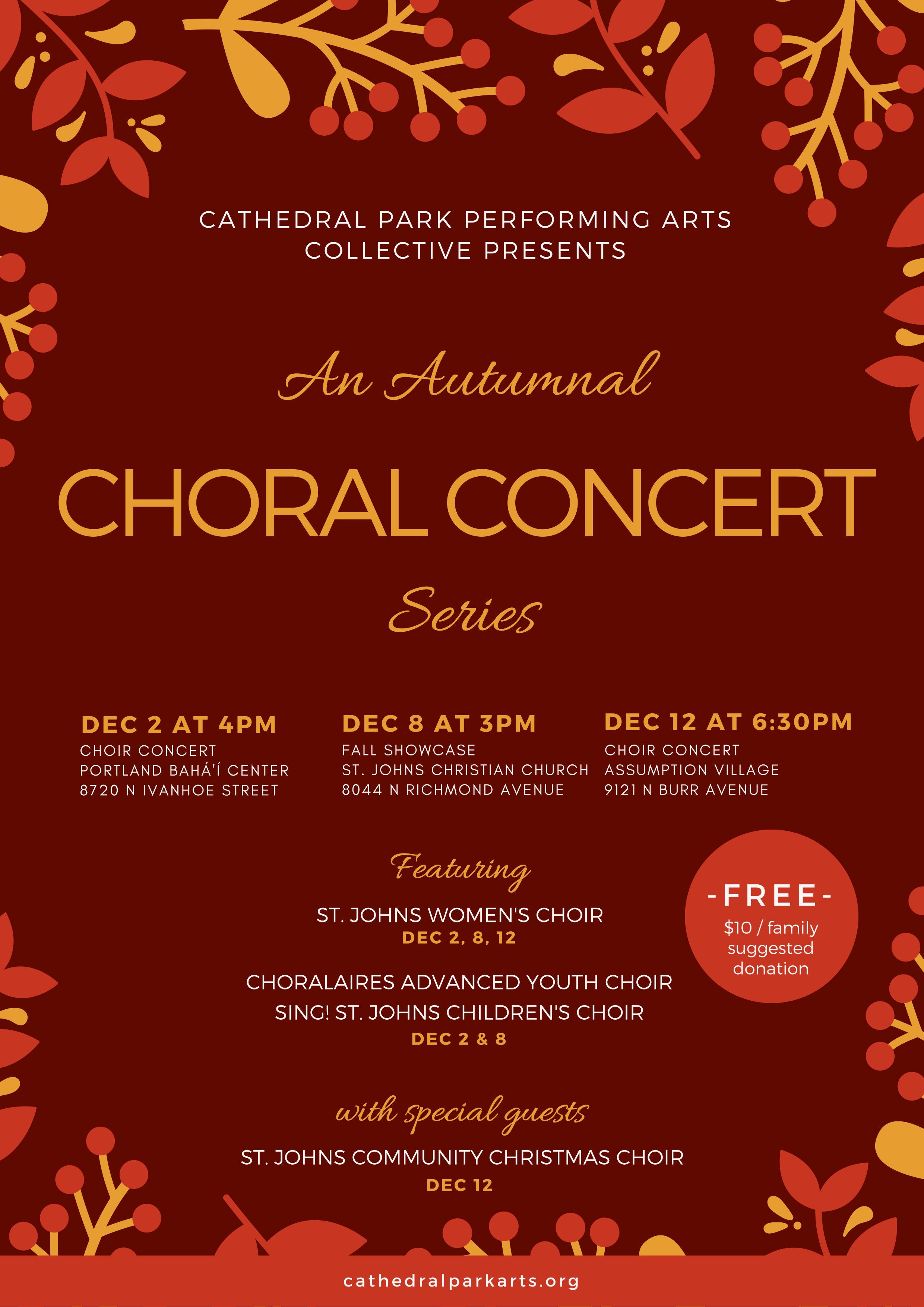 Choral Concert Series | December 2, 8, 12
